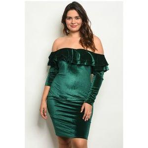 Gibiu Green Velvet Off Shoulder Bodycon Mini Dress